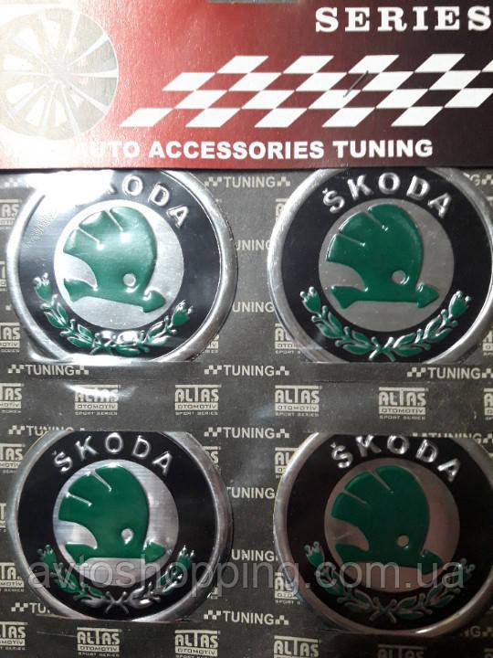 Наклейки на колпачки, заглушки, наклейки на диски 60 мм Skoda Шкода зеленая