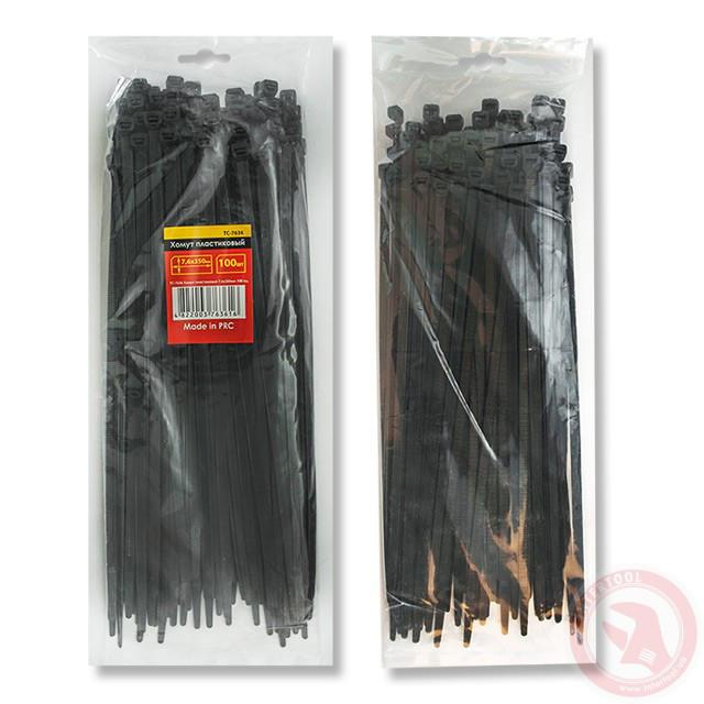 Хомут пластиковый 7,6x350мм, (100 шт/упак), черный