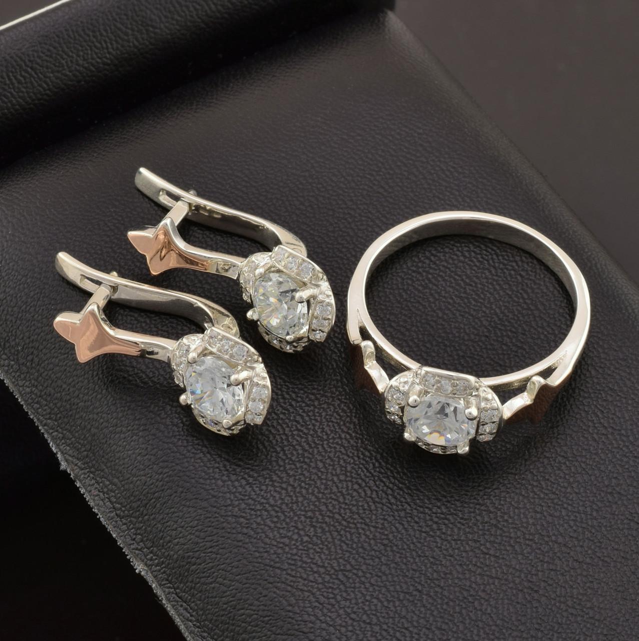 Серебряный набор с золотыми пластинами, кольцо размер 16 + серьги 22*10 мм