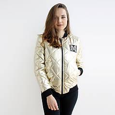 Женская куртка  весна/осень Бомбер Золото М