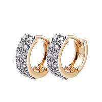 Серьги маленькие колечки фианиты в 2 ряда покрытие 14К золото