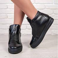 Ботинки женские низкие натуральная кожа Sollorini цвет черный (ботильоны, платформа, комфорт, мех, зима)