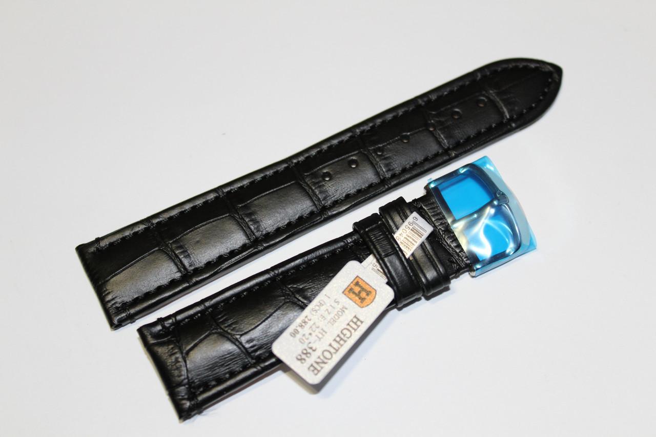 Кожаный ремень для  наручных часов HIGHTONE-черный выделкой под крокодил 22 мм
