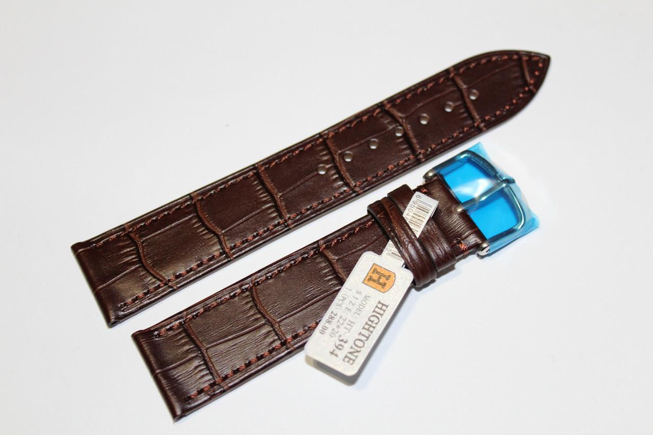Кожаный ремень для  наручных часов HIGHTONE-темно-коричневый ,выделкой под крокодил 22 мм