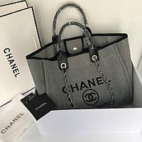 Женская сумка Шанель пляжная текстиль холст цвет серый копия 92566862e01