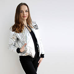 Женская куртка  весна/осень Бомбер Серебро M