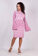 Теплое женское платье Василиса, пудра + белый