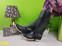 Сапоги женские резиновые черные со съемной портупеей, красивые, удобные, резиновая обувь