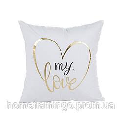 Декоративная подушка велюровая с золотистыми элементами My Love