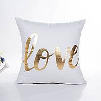 Белая декоративная бархатная наволочка с золотым напылением LOVE