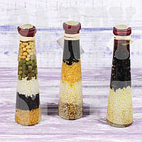 Декоративная бутылка с зернами, 17 см