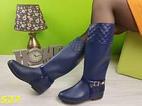 Сапоги женские резиновые синие со съемной портупеей, красивые, удобные, резиновая обувь
