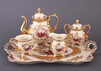 """Чайный набор на подносе на 6 персон, 10 пр. """"Букет роз"""""""