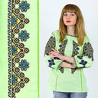 Этническая сорочка с вышивкой Украиночка салатовая