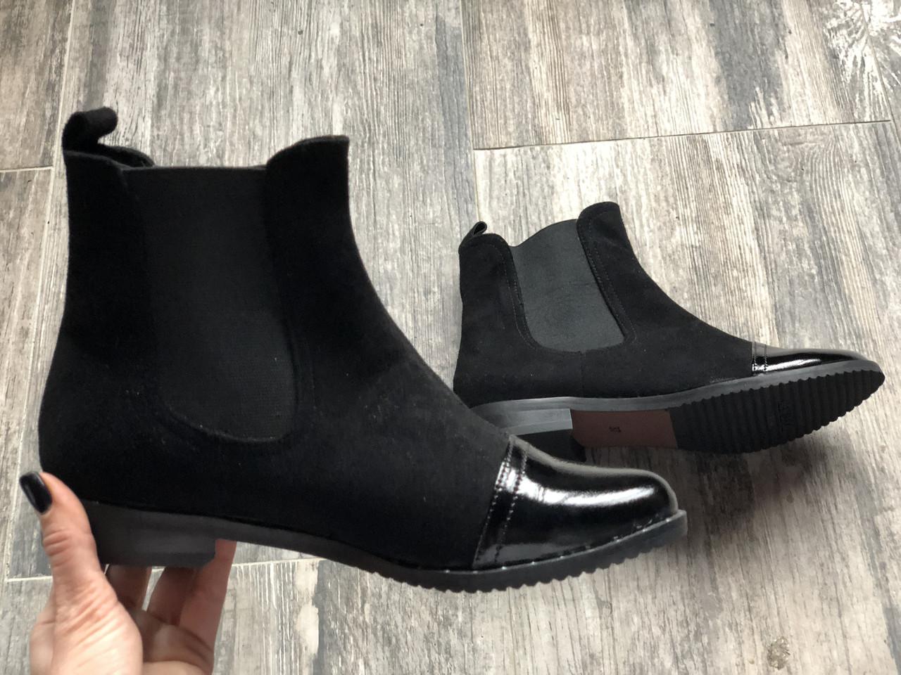 Ботинки челси №334-6 черный лак + замш (м/б)