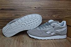 Женские кроссовки Reebok Classiс серые с белой полосой топ реплика, фото 3