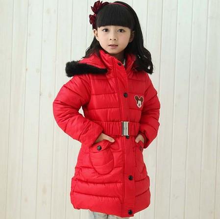 Детское зимнее пальто на девочку Микки красное