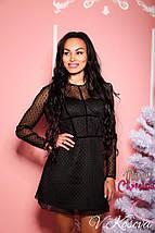 Коктельное платье-мини из дайвинга со стрейчевой сеткой в бархатный горошек, фото 2