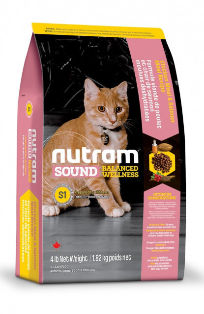 Nutram KITTEN 1.8 кг - холистик корм для котят (курица/лосось)