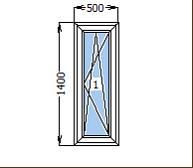 Окно металлопластиковое со створкой 500*1400