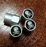 Колпачки на ниппель: с логотипом Череп - Алюминиевые