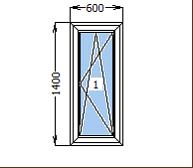Окно металлопластиковое со створкой 600*1400