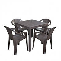 Набор (стол Dallas + 4 кресла Atlanta) коричневый Bica