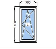 Окно металлопластиковое со створкой 700*1400