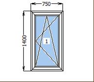 Окно металлопластиковое со створкой 750*1400