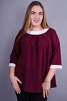 Рената. Стильная блуза больших размеров. Бордо.