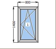 Окно металлопластиковое со створкой 800*1400