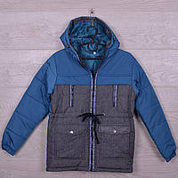 """Куртка детская демисезонная """"В45"""" для мальчиков. 6-11 лет. Темно-бирюзовый+джинс. Оптом."""