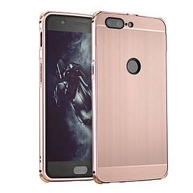 Чехол бампер для OnePlus 5T металлический со съемной задней крышкой, Золотисто-розовый
