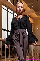 Женская Блуза из 100% Коттона Черная р. S M L XL