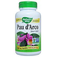 По д'арко, Pau d'Arco, Nature's Way, 545 мг, 180 капсул