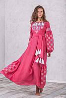 Розовое женское длинное платье вышиванка Берегиня