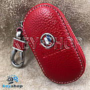 Ключница карманная (кожаная, красная, на молнии, с карабином) логотип авто Chevrolet Buick (Шевроле Бьюик)