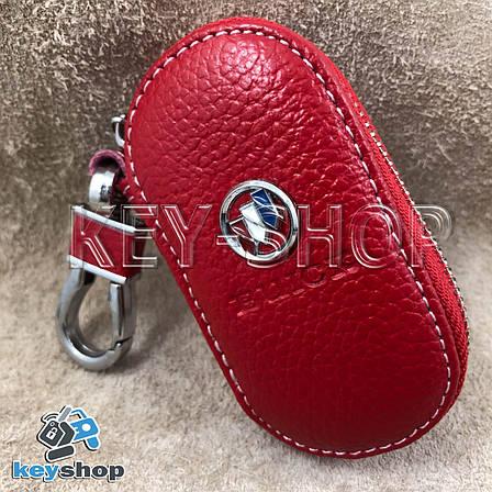 Ключница карманная (кожаная, красная, на молнии, с карабином) логотип авто Chevrolet Buick (Шевроле Бьюик) , фото 2