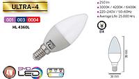 Светодиодная LED лампа Horoz Electric, 4W, 4200K, 220V, свеча, Е14, Ultra-4