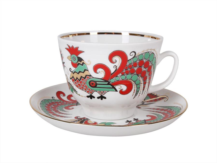 Чашка чайна з блюдцем В. Ф. З. Подарункова Два Півня 350 мл 10642