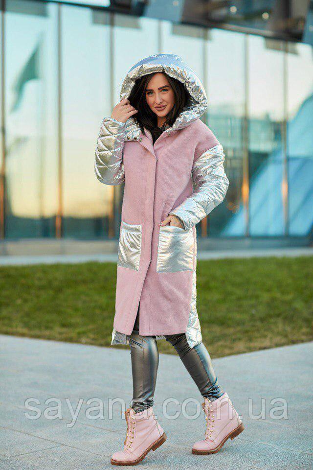 Женское комбинированное пальто с капюшоном в моделях. А-4-0118