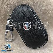 Ключница карманная (кожаная, черная, на молнии, с карабином) логотип авто Chevrolet Buick (Шевроле Бьюик)