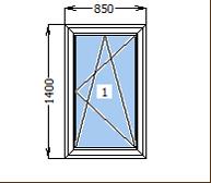 Окно металлопластиковое со створкой 850*1400