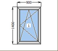 Окно металлопластиковое со створкой 900*1400