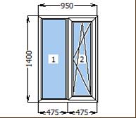 Окно металлопластиковое со створкой 950*1400