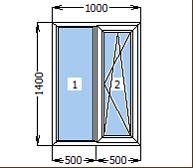 Окно металлопластиковое со створкой 1000*1400