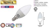 Светодиодная LED лампа Horoz Electric, 6W, 4200K, 220V, свеча, Е14, Ultra-6