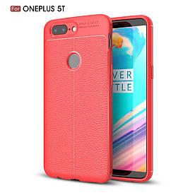 Чехол накладка для OnePlus 5T силиконовый, Фактура кожи, красный