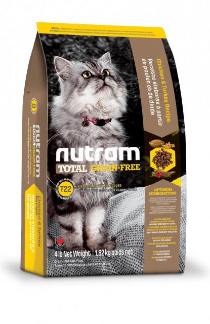 Nutram CAT GRAIN-FREE Turkey & Chiken 1.8 кг - беззерновой холистик корм для кошек (индейка/курица)
