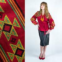 Льняная женская рубашка с вышивкой Мечта красная